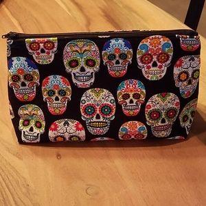 Sugar skull flat bottom makeup bag